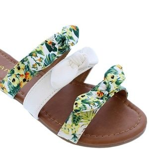 White Tropical Floral Print Knotted Bow Sandals